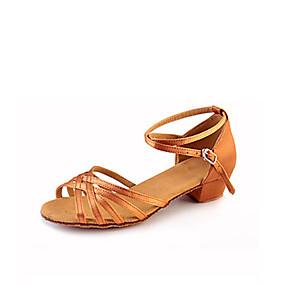 abordables Chaussures de Danse-Fille Chaussures Latines Tissu élastique Plate / Sandale / Basket Ruban / Ruché / Fleur Talon Bas Non Personnalisables Chaussures de danse Argent / Amande / Léopard / Intérieur / Cuir / EU39