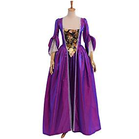 ราคาถูก LaurenCalaway-Victorian Medieval Renaissance ศตวรรษที่ 18 หนึ่งชิ้น ชุดเดรส Party Costume Masquerade สำหรับผู้หญิง เครื่องแต่งกาย Vintage คอสเพลย์ ลูกไม้ ฝ้าย ปาร์ตี้ Prom แขนยาว ลากพื้น ความยาว บอลกาวน์