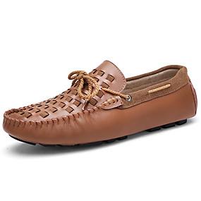 baratos Sapatos Náuticos Masculinos-Homens Mocassim Pele Primavera & Outono Casual / Formais Sapatos de Barco Massgem Preto / Vinho / Azul