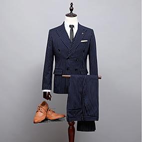رخيصةأون Prom Suits-مخطط قياس أساسي ستاندرد بوليستر دعوى - ذروة صدر ثنائي ست أزرار / بدلة