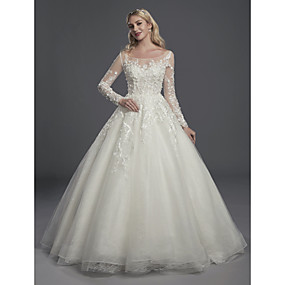 cheap Weddings & Events-Ball Gown Scoop Neck Court Train Lace / Tulle Made-To-Measure Wedding Dresses with Appliques / Buttons by LAN TING BRIDE®