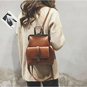 cheap Intermediate School Bags-Women's Bags PU(Polyurethane) Backpack Zipper Brown / Black / Wine