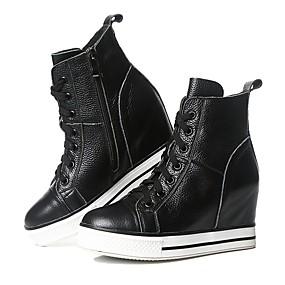 voordelige Damessneakers-Dames Leer Herfst winter Sneakers Verborgen hiel Wit / Zwart