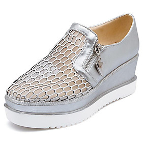 voordelige Damesinstappers & loafers-Dames PU Zomer Loafers & Slip-Ons Creepers Wit / Zilver