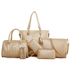 Women s Bags PU(Polyurethane) Bag Set 6 Pieces Purse Set Embossed Gold    Black   Beige 0855d0828995b