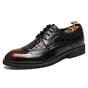 4ad215192 Men s Formal Shoes Leather   Faux Leather Fall   Winter Classic   Vintage  Oxfords Shock-absorbing Gradient Black   Wine   Party   Evening