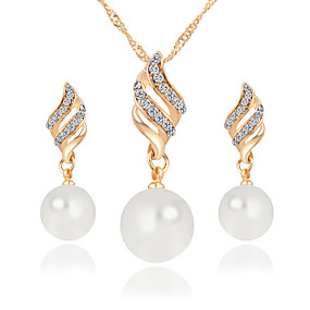 cheap -30%-Women's Twisted Jewelry Set Imitation Pearl, Rhinestone Simple, Korean, Fashion Include Bridal Jewelry Sets Gold / Silver For Wedding Daily / Earrings