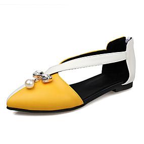 cheap Women's Flats-Women's PU(Polyurethane) Spring & Summer Sweet Flats Flat Heel Pointed Toe Rhinestone / Imitation Pearl Black / Yellow / Light Red / Color Block