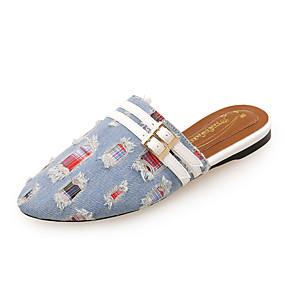 voordelige Damesschoenen met platte hak-Dames Denim Lente zomer minimalisme Platte schoenen Platte hak Ronde Teen Siernagel Zwart / Donkerblauw / Lichtblauw / Kleurenblok
