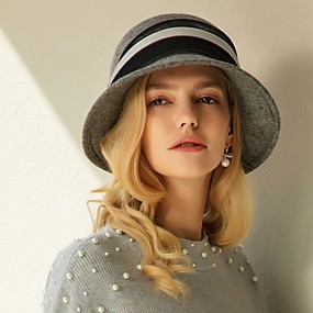 povoljno Kentucky Derby Hat-100% vuna / Velours Kentucky Derby Hat / kape s Trim 1pc Kauzalni / Dnevni Nosite Glava