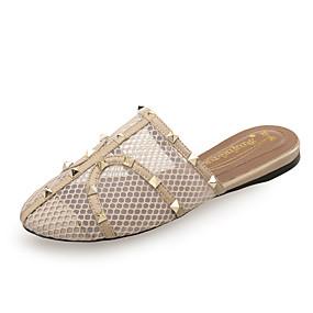 8d53136c864ab Women s Mesh   PU(Polyurethane) Spring   Summer Minimalism Slippers   Flip-Flops  Flat Heel Round Toe Rivet Black   Dark Red   Almond