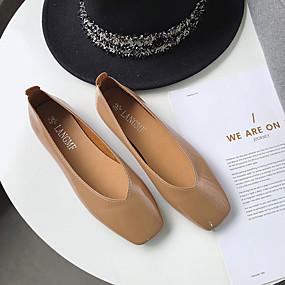 voordelige Damesinstappers & loafers-Dames PU Lente minimalisme Loafers & Slip-Ons Platte hak Vierkante Teen Beige / Amandel / Lichtbruin