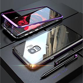 voordelige Mobiele telefoonhoesjes-hoesje Voor Samsung Galaxy S9 Plus / S9 Transparant / Magnetisch Volledig hoesje Effen Hard Gehard glas voor S9 / S9 Plus / S8 Plus