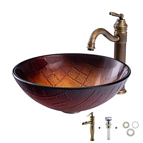 cheap Vessel Sinks-Bathroom Sink / Bathroom Faucet / Bathroom Mounting Ring Contemporary - Tempered Glass Round