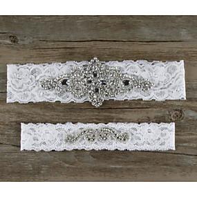 billige Strømpebånd til bryllup-Blonder Rhinestone / Dekorativ Bryllupsklær Med Rhinsten / Blonder / Blomster Strømpebånd Bryllup