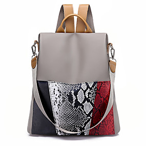 cheap Intermediate School Bags-Women's / Girls' Bags Oxford Cloth Backpack Zipper Black / Khaki