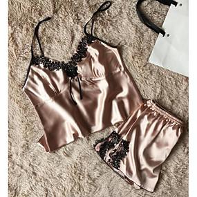 hesapli Takımlar-Kadın's Günlük Giyim İç Çamaşırı / Seksi Kız Etekler - Solid / Jakarlı Dantel Doğal Pembe Mor Haki L XL XXL / Derin V / Süper Seksi