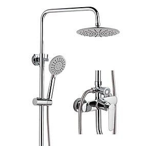 cheap Shower Faucets-Shower Faucet - Contemporary Chrome / Multi-Ply Mount Outside Ceramic Valve Bath Shower Mixer Taps