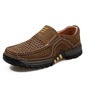 baratos Sapatilhas e Mocassins Masculinos-Homens Sapatos Confortáveis Pele Primavera & Outono Casual Mocassins e Slip-Ons Café / Marron