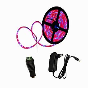 billige LED Økende Lamper-5 m Voksende Strip Lights 300 LED SMD5050 1 til 2 kabelkontakt / 1 x 12V 3A strømforsyning 4 Rød + 1 Blå / 5Red + 1Blue / 3Red + 1Blue Kuttbar / Selvklebende 12 V / 110-240 V 1set