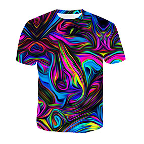 cheap Daily Deals-Men's Cotton T-shirt - Geometric / 3D / Rainbow Print Round Neck Rainbow XXXL / Summer