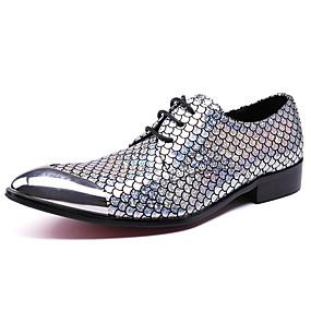 baratos Oxfords Masculinos-Homens Sapatos formais Pele Napa Outono Negócio / Formais Oxfords Massgem Prata / Festas & Noite / Festas & Noite / Sapatos de vestir