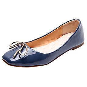 voordelige Damesschoenen met platte hak-Dames PU Lente zomer Zoet Platte schoenen Platte hak Vierkante Teen Strik Zwart / Blauw / Wijn