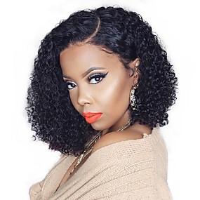 billige Curly Lace Wigs-Remy Menneskehår 13x6 Closure Parykk Bobfrisyre Asymmetrisk frisyre Deep Parting stil Brasiliansk hår Deep Curly Naturlig Parykk 150% Hair Tetthet med baby hår Naturlig hårlinje Afroamerikansk parykk