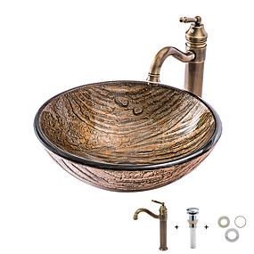 billige Fritstående håndvask-Badeværelse Håndvask / Badeværelse Vandhane / Badeværelse Monteringsring Antik - Hærdet Glas Rund Vessel Sink