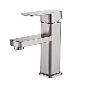 billige Vandhaner til badeværelset-Håndvasken vandhane - Udbredt Nikkel Børstet Vandret Montering Enkelt håndtag Et HulBath Taps