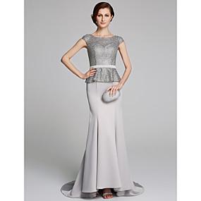 8054a26ed0a3 Ίσια Γραμμή Bateau Neck Ουρά μέτριου μήκους Σιφόν   Δαντέλα Φόρεμα Μητέρας  της Νύφης με Δαντέλα με LAN TING BRIDE®