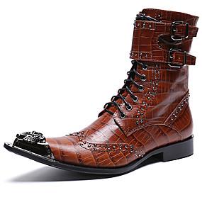 halpa Miesten saappaat-Miesten Fashion Boots Nappanahka Talvi Vapaa-aika / Englantilainen Bootsit Pidä lämpimänä Säärisaappaat Musta / Ruskea / Juhlat