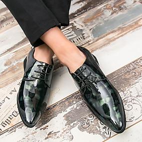 baratos Oxfords Masculinos-Homens Sapatos Confortáveis Couro Envernizado Primavera Verão Casual Oxfords Não escorregar Estampa Colorida Preto / Vermelho / Verde