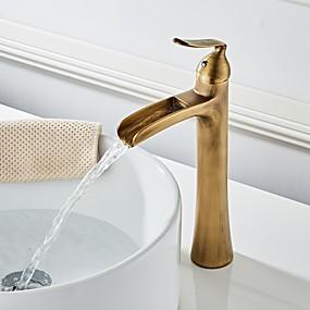 olcso Újdonságok-Fürdőszoba mosogató csaptelep - Vízesés Antik bronz Három lyukas Egy fogantyú egy lyukkalBath Taps