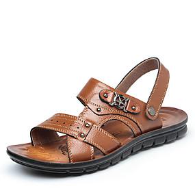 abordables Chaussures homme-Homme Chaussures en cuir Cuir Eté Simple Sandales Chaussures d'Eau / Marche Respirable Noir / Marron