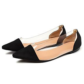 voordelige Damesschoenen met platte hak-Dames PVC / Elastische stof Lente & Herfst / Zomer minimalisme Platte schoenen Platte hak Gepuntte Teen Zwart / Bruin / Donkergroen / Kleurenblok