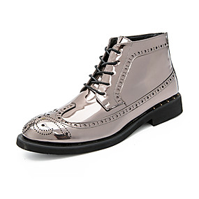 baratos Botas Masculinas-Homens Fashion Boots Couro Envernizado Outono & inverno Casual / Formais Botas Manter Quente Botas Curtas / Ankle Estampa Colorida Dourado / Preto / Prata / Festas & Noite