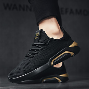 cheap Running Shoes-Men's Comfort Shoes Elastic Fabric Spring & Summer Sporty / Preppy Athletic Shoes Running Shoes Breathable Black / Gold / Black and White / Black / Red