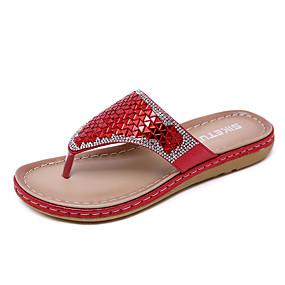a6215bd44 Women s PU(Polyurethane) Spring   Summer Casual   Sweet Slippers   Flip- Flops Flat Heel Round Toe Sequin Gold   Black   Red