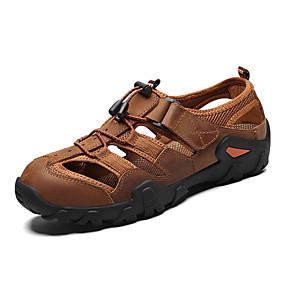 baratos Sandálias Masculinas-Homens Sapatos Confortáveis Pele Napa Primavera Verão Casual Sandálias Respirável Preto / Amarelo / Castanho Escuro