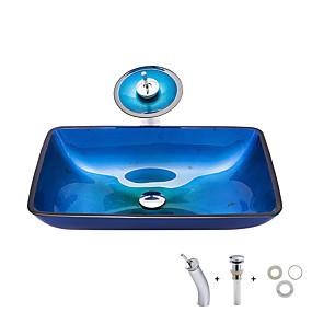 Χαμηλού Κόστους Νιπτήρες-Νιπτήρας μπάνιου / Βρύση μπάνιου / Κρίκος πετσετών μπάνιου Σύγχρονο - Σκληρυμένο Γυαλί Ορθογώνιο Vessel Sink