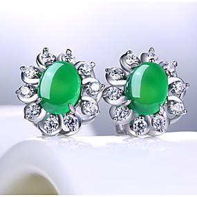 11671c72d649 Mujer Verde Circonita Corte esmeralda Pendientes cortos S925 Sterling  Silver Aretes Vintage Dulce Joyas Verde Oscuro Para Boda Fiesta Diario 1 Par