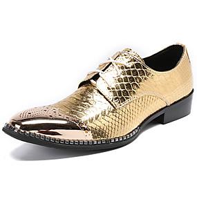 baratos Oxfords Masculinos-Homens Sapatos formais Pele Napa Primavera Negócio / Casual Oxfords Não escorregar Estampa Colorida Dourado / Sapatas de novidade