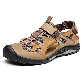 baratos Sandálias Masculinas-Homens Sapatos Confortáveis Pele Napa / Com Transparência Primavera Verão Casual Sandálias Respirável Preto / Khaki