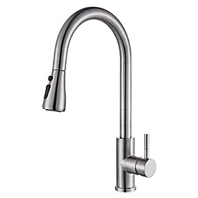 abordables Spray Amovible-Robinet de Cuisine - Mitigeur un trou Nickel brossé Pull-out / Pull-down Montage Moderne Kitchen Taps