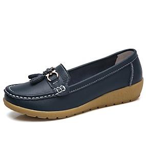 voordelige Damesschoenen met platte hak-Dames Rubber / Leer Lente zomer Klassiek / Informeel Platte schoenen Platte hak Ronde Teen Rood Licht / Lichtblauw / Khaki