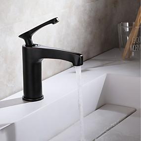 billige Ugentlige tilbud-Baderom Sink Tappekran - Utbredt Krom / Olje-gnidd Bronse / Svart Centersat Enkelt Håndtak Et HullBath Taps