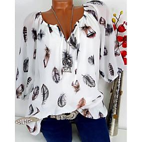 رخيصةأون عروض يومية-نسائي قميص قياس كبير V رقبة طباعة هندسي أبيض XXXL