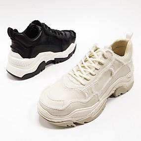 baratos Sapatos Esportivos Femininos-Mulheres Pele Napa Primavera Tênis Corrida Calcanhar escondido Branco / Preto