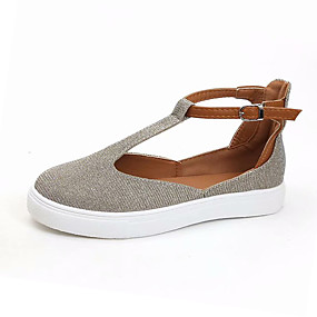 voordelige Damesschoenen met platte hak-Dames PU Lente zomer Platte schoenen Platte hak Zwart / Licht Grijs / Donker Bruin
